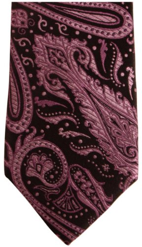 Knightsbridge Neckwear Purple Paisley Silk Skinny cravate de