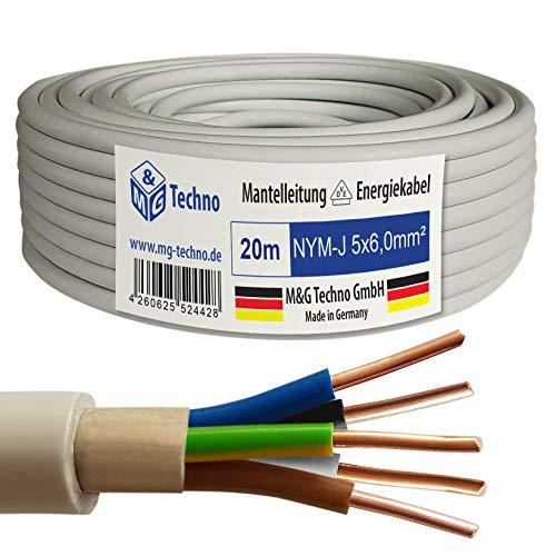 M&G Techno 20m NYM-J 5x6,0 mm² Mantelleitung Elektro Strom Kabel Kupfer eindrähtig Made in Germany