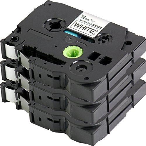 3x Schriftband für Brother TZe-231/TZ-231, schwarz auf weiß, 12 mm x 8m, auch geeignet für Brother P-Touch 1000W, 1010, 1090, 1830VP, 2030VP, 2100VP, 2430PC, 2470,2730VP, 7100 VP, 7600 VP H100R, H300,D200VP und weitere P-Touch Beschriftungsgeräte
