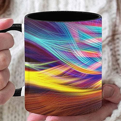 Taza linda de 11 oz Chakra colorido Lsd Spirituality Tazas de café divertidas de colores para mujeres Tazas de café personalizadas utilizadas para café Té caliente Beber Interior negro con asa