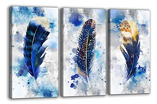 Feather Canvas Wall Art for Living Room Bedroom Large Modern Artwork Blue Watercolor feather Print picture 3 pieces Framed Wall Decor Ready to Hang for Home Office Decoration