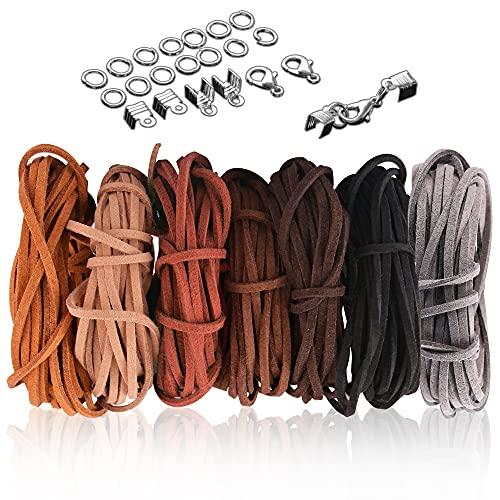 SOSMAR 5M x 3mm Lederschnur Lederband Veloursleder Band Faden für DIY Armband Halskette Schmuck Handwerk, 7er Set mit 100pcs Schnurenden und 20pcs Schlüsselhänger