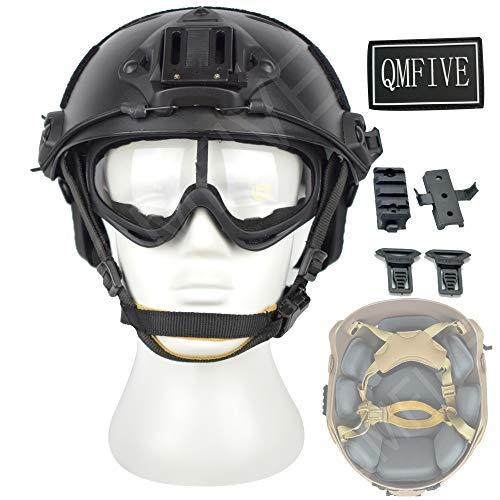 QMFIVE Casco táctico Estilo Militar, Casco de Airsoft Paintball Casco para con protección Gafas para Airsoft o Paintball, con Gafas, para Combate en Espacios Cerrados (Negro)