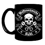 Kaffeetasse schwarz 300ml große Tasse bedruckt mit Biker Motiv Moped Ostdeutschland DDR