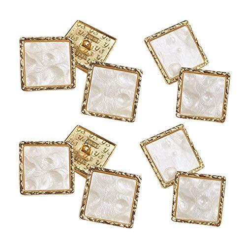 10 Pcs BotóN Cuadrado De Resina Artesanal Costura De PláStico BotóN Botones Cuadrados Cuadrados De Metal Para Prendas Mujeres BotóN Capa De La Chaqueta Traje Decorativo DiseñO Blanco