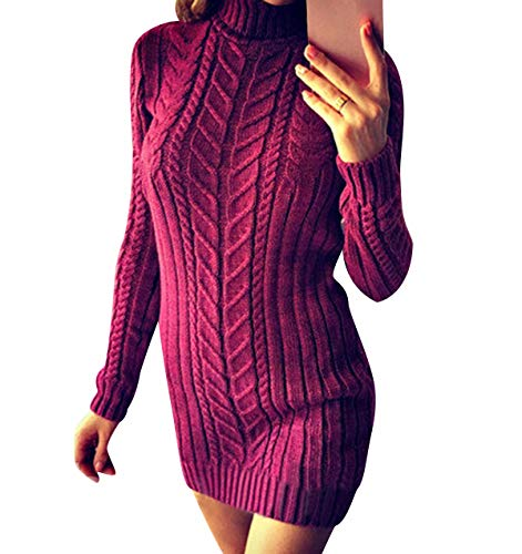 Jersey de Vestir Mujer Cuello Alto Vestidos Mujer Punto Jersey Vestido Vestidos Sueter de Mujer Suéter Largo Mujer Jerseys Mujeres Largos Sueteres Invierno Suéters Señora Pullover Sweater Morado S