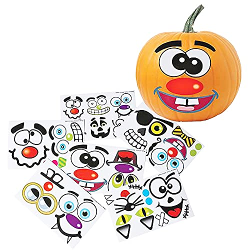 Halloween Pumpkin Decorating Face Stickers Make Jack-O-Lantern Sticker Face, Great for Arts and Crafts, Party Favors (12-Pack)