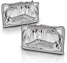 AmeriLite for 1999-2004 Ford Super Duty F-250/F-350/F-450/F-550 | Excursion Chrome Headlights Beams Pair - Passenger and Driver Side