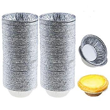 Jyongmer 200 Pieces 2.6 Inch Round Pie Tart Small Tin Foil Pans Disposable Aluminum Mini Pie Pans for Baking Cooking Supplies