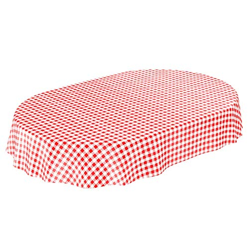 Tela cerata tovaglia cerata tovaglia lavabile Klassik Karo in rosso rotondo 100cm, asciugamani, multicolore, Oval 140 x 180cm