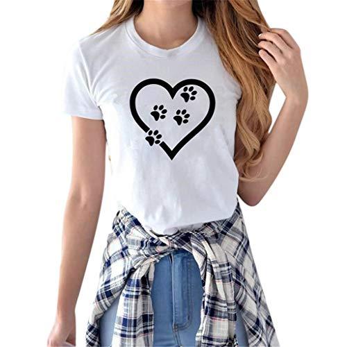 iHENGH Damen Top Bluse Bequem Lässig Mode T-Shirt Frühling Sommer Blusen Frauen Mädchen beiläufiges Crewneck übersteigts(Weiß, L)