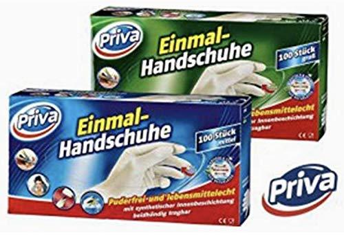 100 Stück - Einweghandschuhe - Latex-Handschuhe puderfrei, lebensmittelecht - Größe L