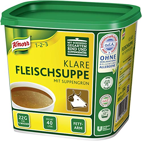 Knorr klare Rindsuppe mit Suppengrün (Rinderbrühe nach bewährter Rezeptur) 1er Pack (1 x 0,88 kg)