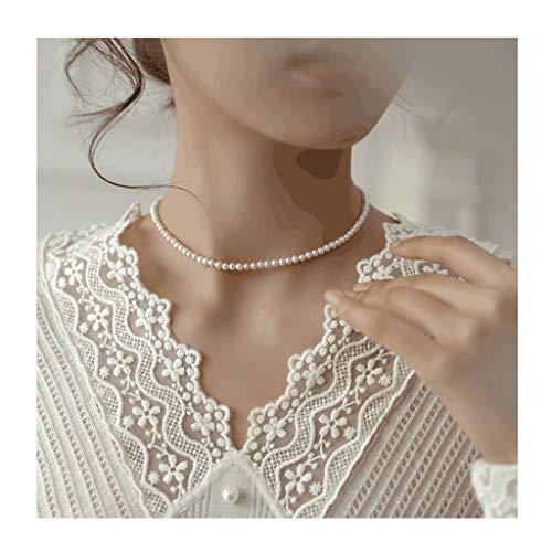 ZANZAN Collares Natural de agua dulce collar de perlas para las mujeres S925 chapado en plata 18K oro perlas collares para gran regalo de San Valentín hombres/mujeres collares