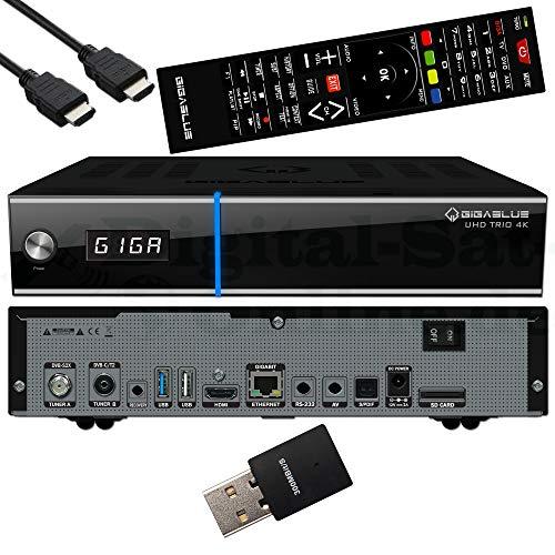 GigaBlue UHD Trio 4K - Receptor combinado para satélite, cable y señal terrestre - E2 Linux TV Smart TV Box y reproductor multimedia con función PVR + cable HDMI EasyMouse y USB WLAN de 300 Mbit
