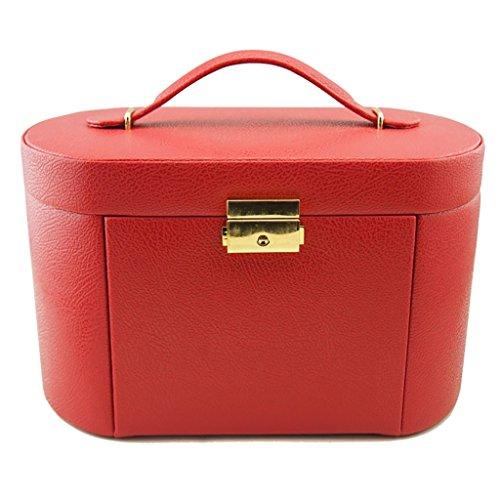 JeweR Présentoir à Bijoux Support de bac Multi-Fonction boîte de Rangement Flanelle de Cuir PU avec Serrure de Grille de tiroir (Color : Red)