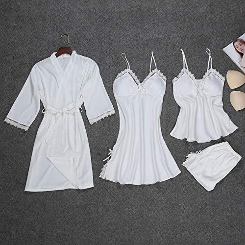 JFCDB Zomer pyjama,Nieuwe satijnen vrouwen slaap set nachtkleding lente lange mouw pyjama pyjama set sexy gewaad kimono badjas casual nachtkleding, wit 4 stuks, m