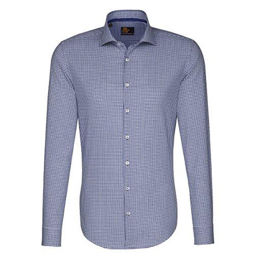 Seidensticker Herren Langarm Hemd UNO Super Slim Spread Kent Tape blau/weiß kariert 675320.17 (36, Blau)
