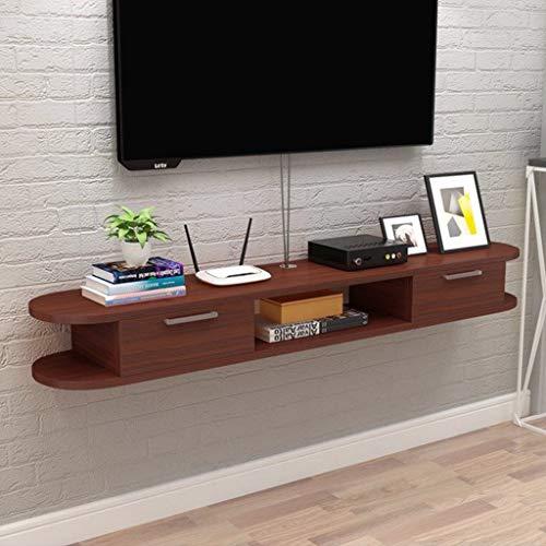 GDF-FLOATING SHELVES wandgemonteerde TV plank TV kast plank TV stand met lade kabel opslag rek voor woonkamer en Office Router plank DVD speler plank, Teak color