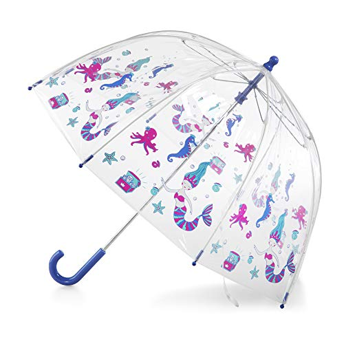totes Kids Clear Bubble Umbrella with Easy Grip Handle, Ocean Princess