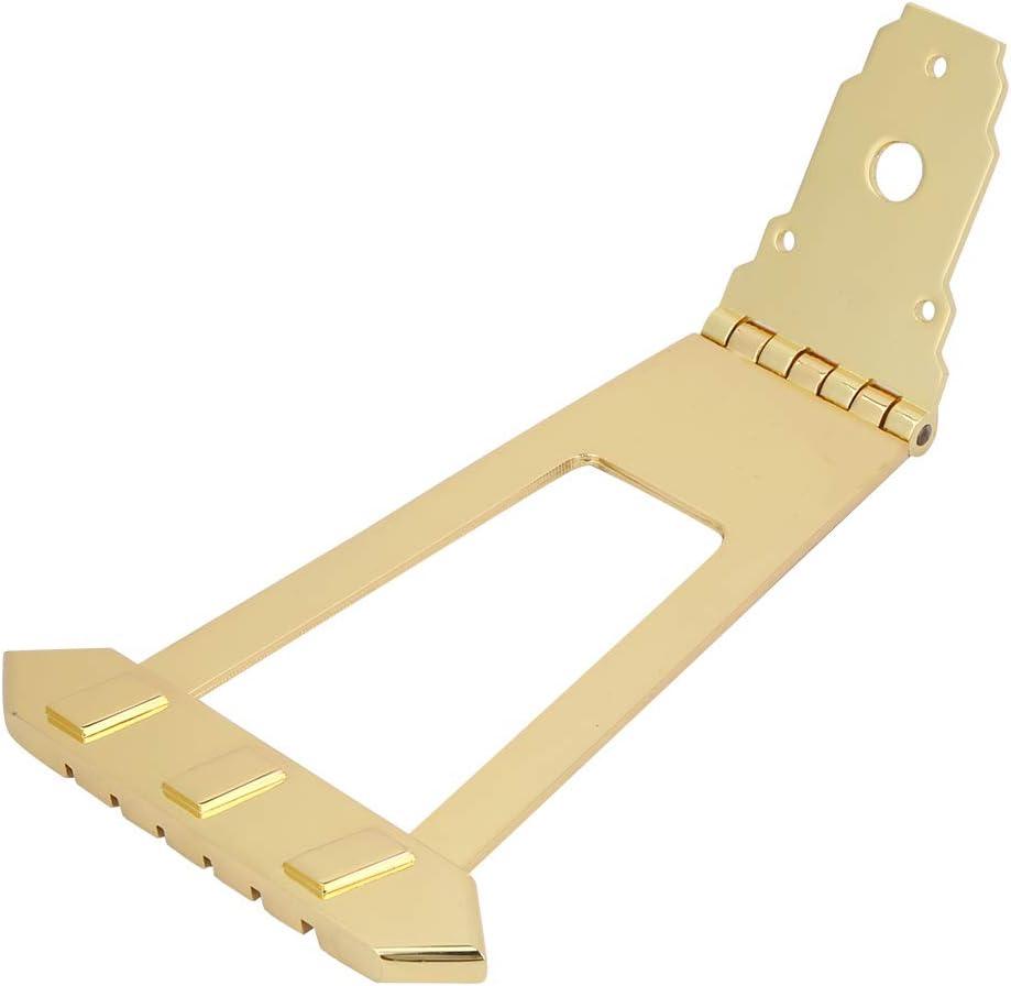 Puente cordal de aleación de zinc Pieza de guitarra eléctrica Cordal de guitarra de jazz, espaciado de cuerdas de 10 mm, para bajo y guitarra arqueada o instrumentos similares de 6 cuerdas(oro)