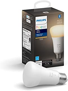 Philips Hue White A19 Lampara inteligente LED, Compatible con Bluetooth y Zigbee, E26, 10 W, 60 W, 800 lumenes, Luz suave...