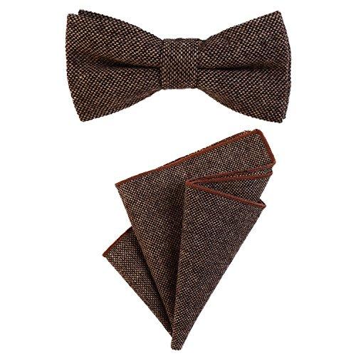 DonDon Herren Fliege 12 x 6 cm gebunden längenverstellbar und Einstecktuch 23 x 23 cm farblich passend aus Baumwolle braun schwarz