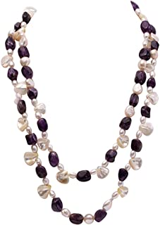 Long Strand Necklace Amethyst and White Irregular Mabe Pearl and White Pearl Necklace