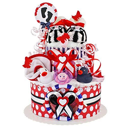 MomsStory - Windeltorte Mädchen   Baby-Geschenk zur Geburt Taufe Babyshower   2 Stöckig (Rot-Schwarz-Weiß) mit Baby-Schuhchen Lätzchen Schnuller & mehr