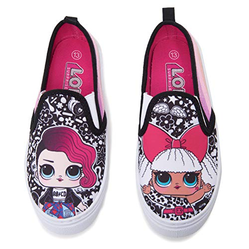 :L.O.L. Surprise! Girls Canvas Shoes with Glitter Sides Black/Fuchsia, US Size 1