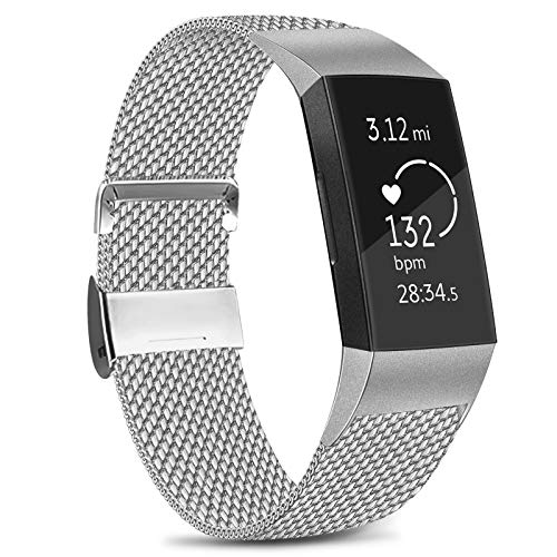 Amzpas Kompatible Für Fitbit Charge 3 Armband/Fitbit Charge 4 Armband, Metall Edelstahl Ersatzarmband Kompatibel mit Fitbit Charge 3/ Charge 4 (S, 01 Silber)