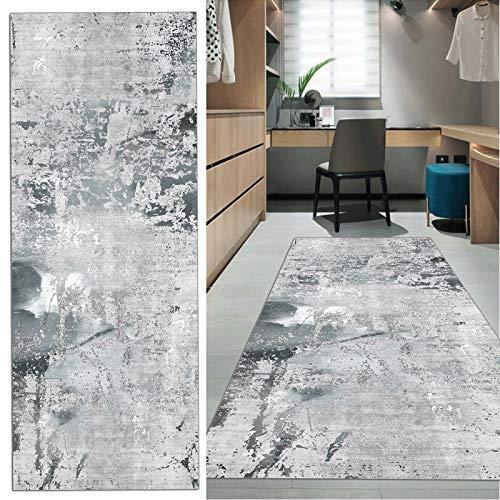 Teppich Läufer Flur rutschfest Lang grau Küche Schlafzimmer Wohnzimmer Polyester Verblassen 60x100cm (80x250cm)