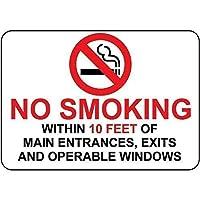 金属の警告標識、メインエントランスの10フィート以内の禁煙1797完璧なバーカフェキッチンバスルームドアガレージの壁
