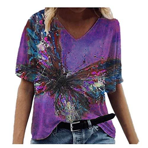 N\P Camiseta de manga corta con cuello en V para mujer, estampado de mariposas, talla grande, camiseta de verano transpirable