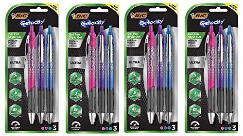 BIC Gel-ocity Ultra Retractable Fashion Gel Pen, Assorted Colors, 3-Count (Fоur Paсk)