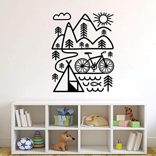 Tatuaje de pared, ciclismo, bicicleta de montaña, regalo al aire libre, mural moderno, ilustraciones de vinilo, pegatinas abstractas extraíbles, póster de arte, imágenes para calcomanías de pintura