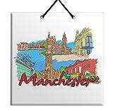 Manchester - Azulejos de madera MDF para colgar en la pared Inglaterra, Midland, Hotel Manchester Town Hall Warehouse City Souvenir Decoración del hogar