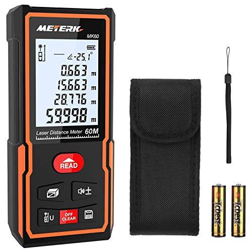 Laser Entfernungsmesser, Meterk Distanzmessgerät Messbereich: 0,05-60m Genauigkeit:±2 mm mit M/In/Ft Datenspeicherfunktion LCD Display Hintergrundbeleuchtung Elektronische Ebene