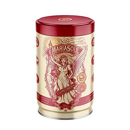 MariaSole Caffè Crema – NEUES DESIGN GLEICHER GESCHMACK - Premium Kaffeebohnen 250g in hochwertiger Dose für Vollautomat und Siebträger - Traditionelle Röstung über Holzfeuer In Handarbeit
