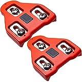 TFNYCT Tacos de Bicicleta – Pedales de Ciclismo autobloqueante – Juego de Tacos de Ciclismo para Interior y Bicicleta de Carretera, Compatible con Zapatos Shimano&Look(9 ° Float)(rojo3)