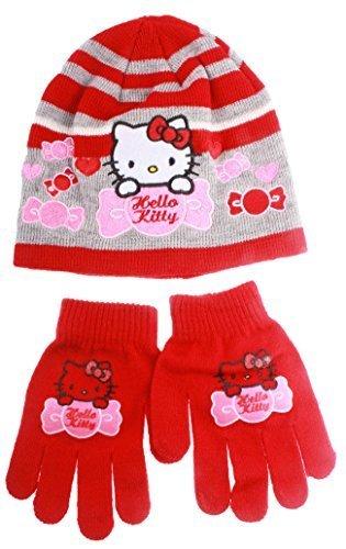 Bonnet et gants rayés enfant fille Hello Gris/rouge T54