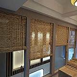XZRR Bambus Jalousien-Seitenzugrollo,Rollo Bambus,Handgemacht,60% Schattierung,für Innendekoration,Pavillon Im Freien,Jalousie Holz -Fenster Sichtschutz - Fenster-Rollo Bambus(Custom)
