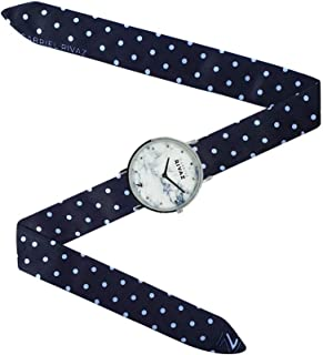 Montre Bracelet Foulard signée Gabriel Rivaz - Bracelet en Soie - Montre Fond marbré - Mécanisme Japonais - Pois Blanc