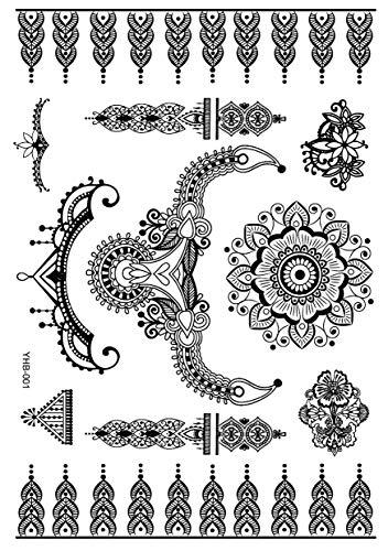 5Pcs 21X14.8CM Tatuaggi Temporanei Per Adulti Uomo Donne, Tatuaggio Temporaneo Adesivo Body Art, Pizzo Fiore Ali Nere Adesivi Tatuaggi Finti Impermeabili Per Braccio, Gamba E Viso