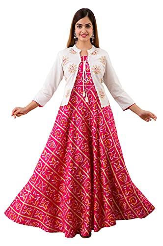 OMASK Women's Printed Rayon Anarkali Kurta with Embroidered Jacket Pink