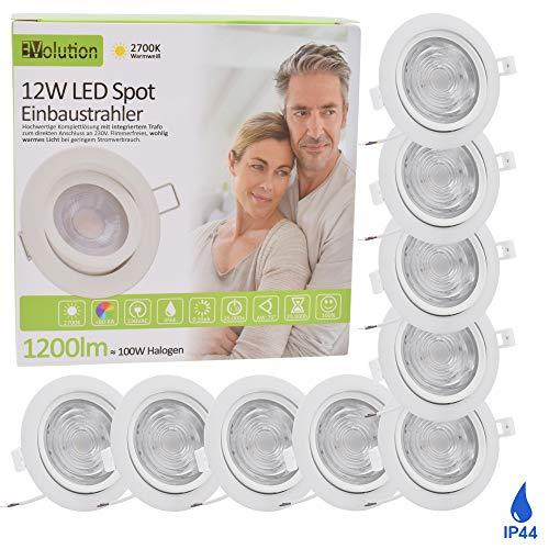 9x Evolution LED foco empotrable en techos 12W 1200lm IP44 Spot 230V para baño, salón Foco empotrable en blanco con una profundidad de instalación 55mm