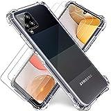 """Coque pour Samsung A42 5G,Coque Transparente Samsung A42 5G + Verre Trempé Film Protection écran 2Pack,Souple TPU Silicone Housse Etui Case Cover pour Galaxy A42 5G 2021 6.5"""""""