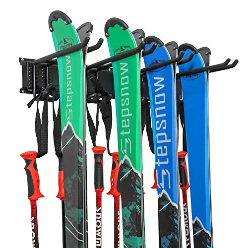 Ski Wall Rack, Holds 4 Pairs of Skis & Skiing Poles or...