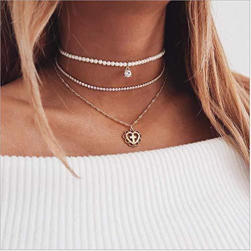 Nicute Boho gelaagde kruis hanger ketting strand gouden kristal ketting parel kralen Choker sieraden voor vrouwen en meisjes