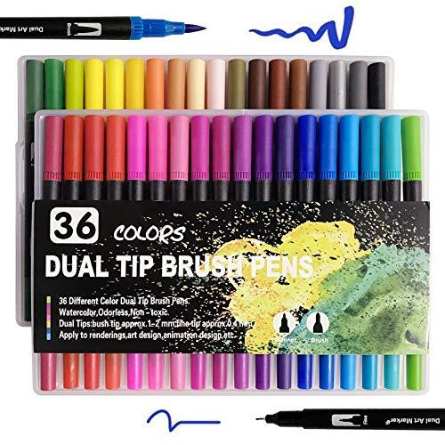 Filzstifte Pinselstifte Set, Filzstifte 36 Farben Dual Tip Brush Pens, Doppelfasermaler 1-2 mm Fasermaler und 0,4 mm Fineliner, Malstifte mit zwei Spitze für Malbücher, fürs Zeichnen, Malen